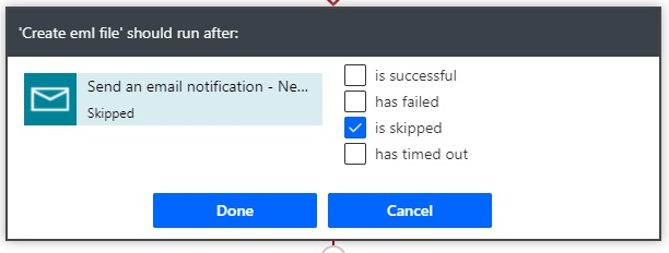 run after skip email action flow