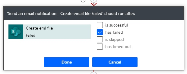 email creation failed notification