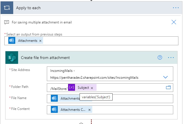 create file from attachment action