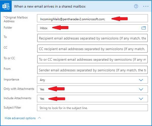 incoming email action
