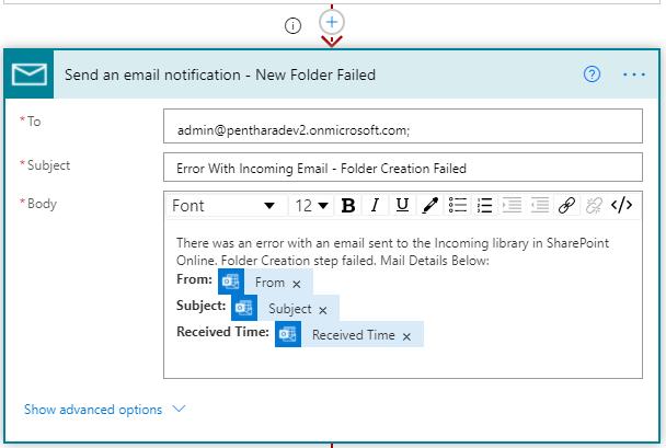 folder creation failure notification flow