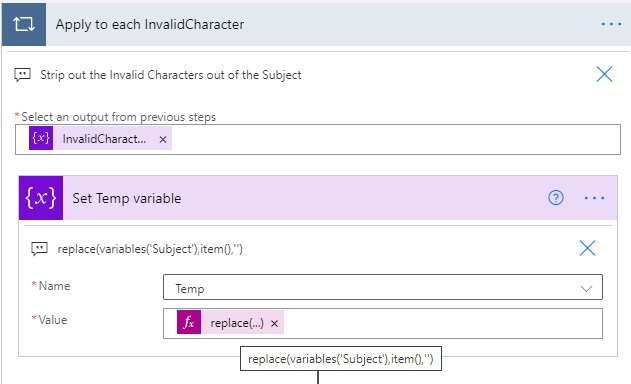 invalid character flow variable