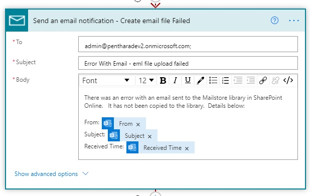 create email action failure notification