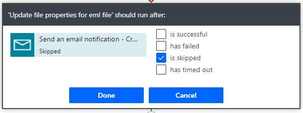 run after update file properties action skipped