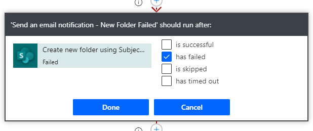 run after action failed flow