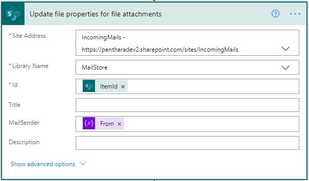 update file properties action